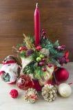 Velas y decoración de la Navidad Foto de archivo