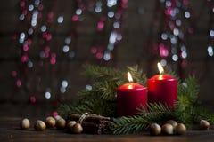 Velas y luces de la Navidad Foto de archivo
