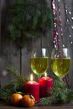Velas y luces de la Navidad Foto de archivo libre de regalías