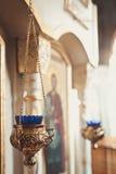 Velas y primer de la lámpara Fotografía de archivo