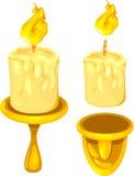 Velas y tenedores ardientes Fotografía de archivo libre de regalías