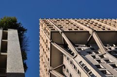 Velasca tower brutalist skyscraper, milan. Foreshortening of famous building shot in bright light Stock Photography