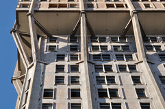 Velasca tower concrete emboss, milan. Foreshortening of famous building showing the concrete structure of emboss Royalty Free Stock Photos