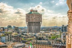 Velasca Tower seen from the roof Milan Cathedral, Italy Stock Photos