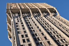 Velasca tower south facade from below, milan. Foreshortening of famous building showing the concrete structure Stock Photos