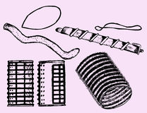 Velcro rollers,curler. Set, doodle style Royalty Free Stock Photography