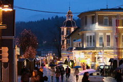 Velden city centre. Velden city center during advent, decorated with Christmas lights, people walking on hollydays Stock Photos