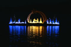 Velden lake nursery. During night, great reflection and lake scene, advent Stock Photos