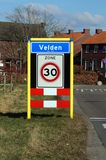 City entrance sign of the Dutch town of Velden. Velden, Limburg, The Netherlands - February 27, 2018: Dutch city entrance sign of the town of Velden by the side Royalty Free Stock Photography