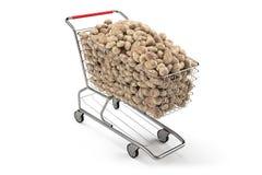 Vele aardappels in een boodschappenwagentje op de witte achtergrond van Th het 3d teruggeven Stock Foto's