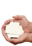 Vele adreskaartjes in handen Royalty-vrije Stock Foto