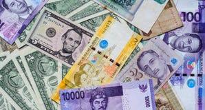 Vele bankbiljetten van verschillende landen Royalty-vrije Stock Fotografie