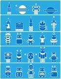 Vele blauwe robots Royalty-vrije Stock Afbeeldingen