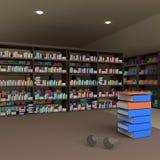 Vele boeken op boekenrek en glazen, het 3D teruggeven vector illustratie