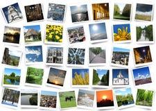 Vele bont foto's op de witte achtergrond Stock Fotografie