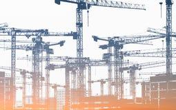 Vele bouwkranen - bouwwerf stock foto