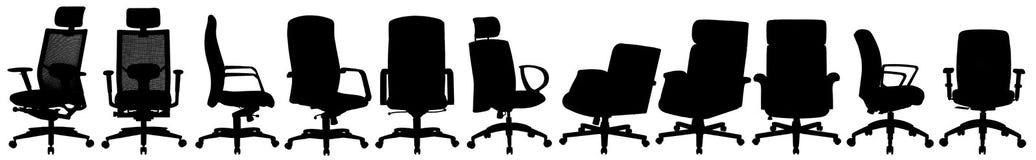 Vele bureaustoelen op wit stock illustratie