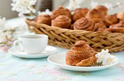 Vele cakes van kaneelbroodjes Hoogste mening royalty-vrije stock afbeeldingen