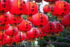 Vele Chinese Lantaarns die samen hangen stock afbeelding