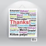 Vele dank in vele talen Stock Foto