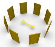 Vele deuren maar één sleutel Royalty-vrije Stock Foto