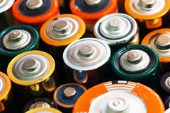 Vele diverse batterijen Stock Afbeelding