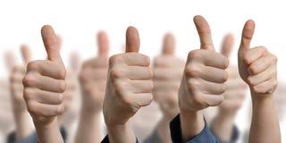 Vele duimen omhoog op witte achtergrond Succes en toestemmingsconcept Royalty-vrije Stock Fotografie