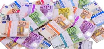 Vele Euro bankbiljetten als groep Royalty-vrije Stock Afbeeldingen