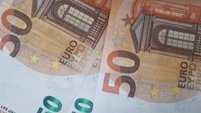 Vele 50 euro bankbiljetten stock videobeelden