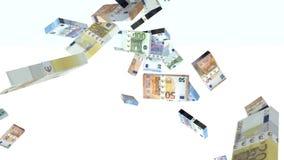 Vele euro die bankbiljetten in de lucht worden gelanceerd stock videobeelden