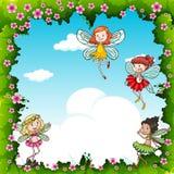 Vele feeën die in de hemel vliegen stock illustratie