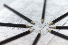 Vele gecentraliseerde potloden Stock Afbeeldingen