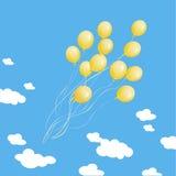 Vele gele ballons op een achtergrond van blauw s Stock Afbeelding
