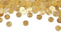 Vele gouden muntstukken over wit Stock Foto