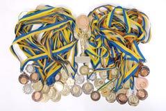 Vele gouden, zilveren, en bronsmedailles Royalty-vrije Stock Afbeeldingen