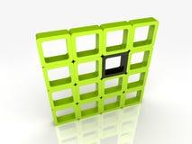 Vele groene vierkanten en één zwarte Stock Foto's