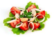 Vele groenten op de plaat Stock Fotografie