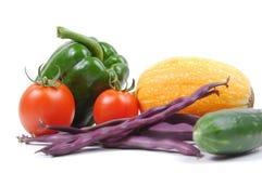 Vele groenten op wit Stock Fotografie