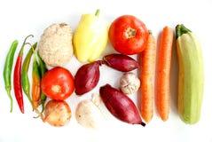 Vele groenten op witte achtergrond Stock Foto