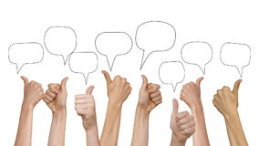 Vele handen die duimen omhoog met toespraak tonen borrelt stock illustratie