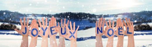 Vele Handen die Joyeux Noel Means Merry Christmas, de Winterlandschap bouwen royalty-vrije stock fotografie