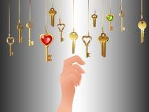 Vele hangende sleutels en hand stock illustratie