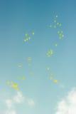 Vele heldere baloons die in de blauwe hemel vliegen Stock Fotografie