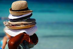 Vele hoeden voor verkoop! Royalty-vrije Stock Foto