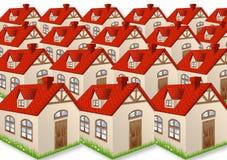Vele huizen met rode daken Stock Afbeeldingen