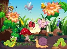 Vele insecten in de tuin royalty-vrije illustratie