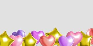 Vele kleurrijke ballons van de heliumfolie van verschillende vormen over heldere achtergrond Minimaal Vakantieconcept stock fotografie