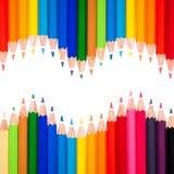 Vele kleurrijke pennen en een golf Royalty-vrije Stock Afbeelding