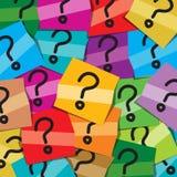 Vele kleverige nota's met vragenteken Stock Fotografie