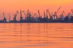 Vele kranen silhouetteren in de haven bij licht van zonsondergang stock afbeelding